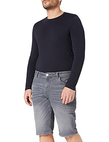 TOM TAILOR Herren 1025085 Josh Denim Bermuda Shorts, 10212-Clean Light Stone Grey, 36