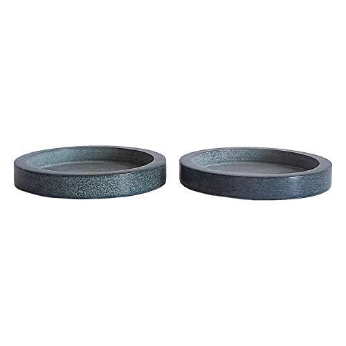 Kaizen Casa Natural Stone Candle Holder Tray, Home Decor Accessories for the Coffee Table and Dining Table.(12.7cm x 12.7cm x 1.90cm), Set of 2