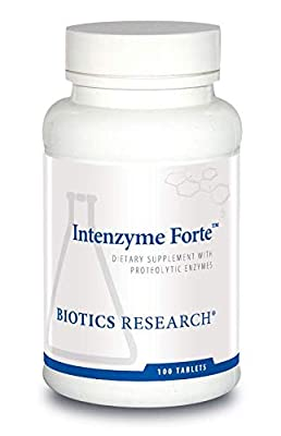 Biotics Research Intenzyme Forte Proteolytic Enzymes, Pancreatin, Bromelain, Papain, Lipase, Amylase, Protein Metabolism, Supports Healthy Digestion, Immune and Circulatory Function 100 tabs