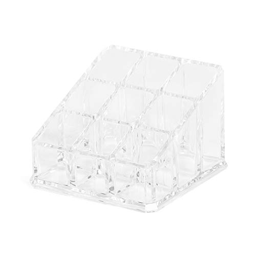 Compactor Organizador de cosméticos con 9 huecos, Transparente, Fabricado en poliestireno, Tamaño, 9 x 9 x 6.5 cm, RAN5054