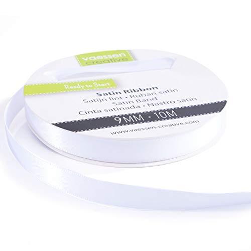 Vaessen Creative 301002-2003 Satinband Weiß, 9 mm x 10 Meter, Schleifenband, Dekoband, Geschenkband und Stoffband für Hochzeit, Taufe und Geburtstagsgeschenke, 9MM