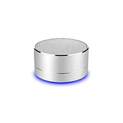 Altoparlante in Metallo Bluetooth per ASUS Zenfone Max PRO (M2) Smartphone Porta USB Scheda TF AUX Altoparlante Micro Mini (Argento)