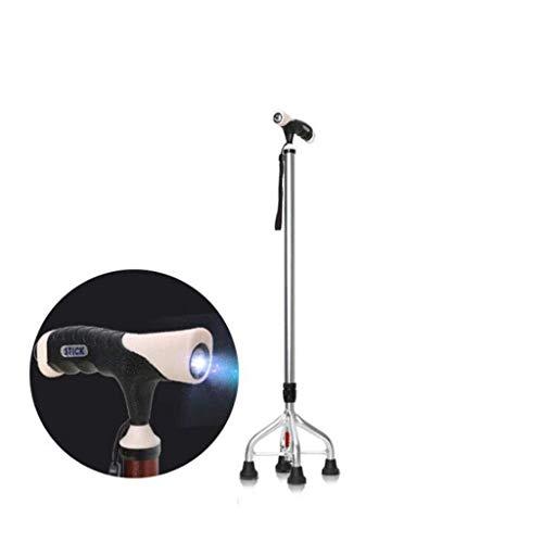 ZSMPY Caminador De Abducción Telescópico Lámpara De Caña De Aleación De Aluminio Multifuncional con Cuatro Pies De Bastón Antideslizante