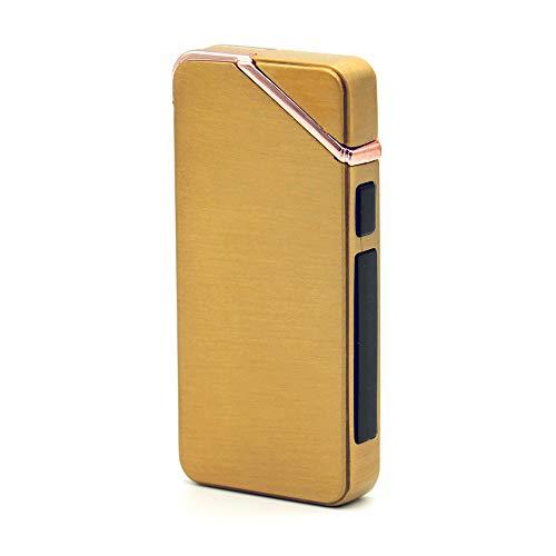 JX-SHOPPU プラズマライター 電子ライター USB 充電 ヘアライン デュアル アーク 着火 タバコ 煙草 ガス オイル 不要 Plasma Lighter Rechargeable Windproof Flameless (ゴールド)