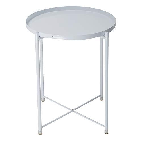 IKAYAA-Tavolino Rotondo con Vassoio Rimovibile, Tavolo Snack Laterale Divano Tavolino da caffè Comodino in Metallo per Soggiorno, Camera da Letto, Patio Bianca