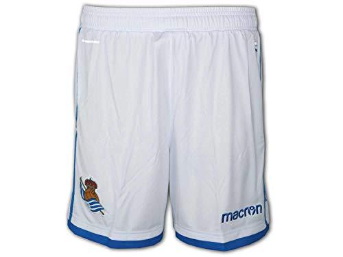 Macron Real Sociedad San Sebastián Home Short - Pantalones de fútbol, color blanco, Unisex, blanco / azul, medium