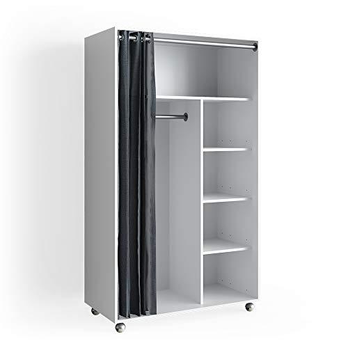 VICCO mobiler Kleiderschrank DOROS auf Rollen Dielenschrank offen Garderobe (Weiß Matt)