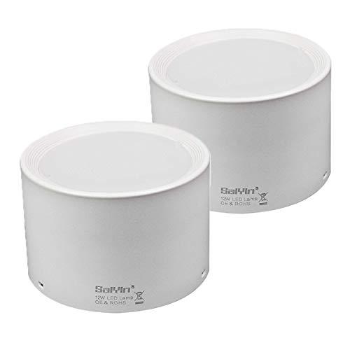 (2 Pack) Luz de Techo LED Lámpara de Pared,Saiyin Luz Blanco Cálido 3000K Focos Montados en superficie LED,Se utiliza en Cocina, Dormitorio, Baño y Galería (3000K, 12W Whiteshell)