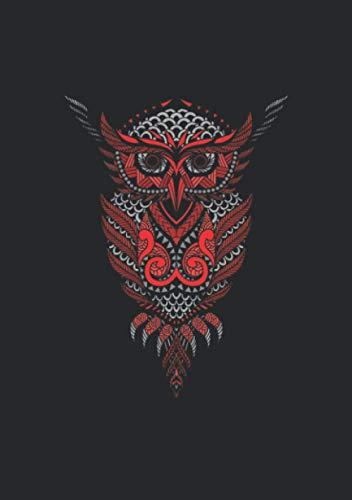 Notizbuch A5 liniert mit Softcover Design: Mandala Eule Tribal Tatto Symbol Geschenk: 120 linierte DIN A5 Seiten