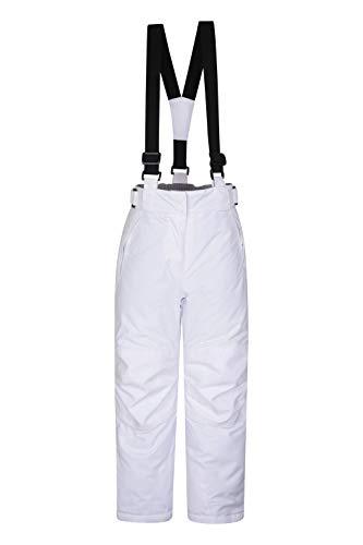Mountain Warehouse Pantalon de Ski Enfants Falcon Extreme - Coutures soudées, Imperméable, Guêtres Pare-Neige, Poches sécurisées - pour Le Ski et Les Vacances, Hiver Blanc 9-10 Ans