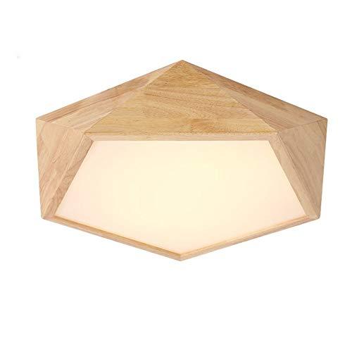 HG-JIAJUR plafondlamp hout woonkamer lamp platte woonkamer lamp houten lamp eiken plafondlamp slaapkamer vintage lamp plafond licht met LED kamerlamp (kleur: neutraal licht, grootte: Ø42cm 24W)