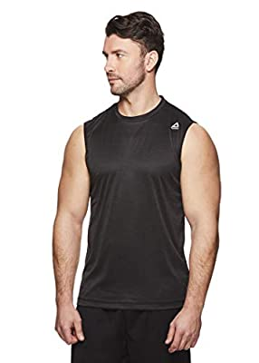 Reebok Men's Muscle Tank Top - Sleeveless Workout & Training Activewear Gym Shirt - Charger Black Heather, Large from