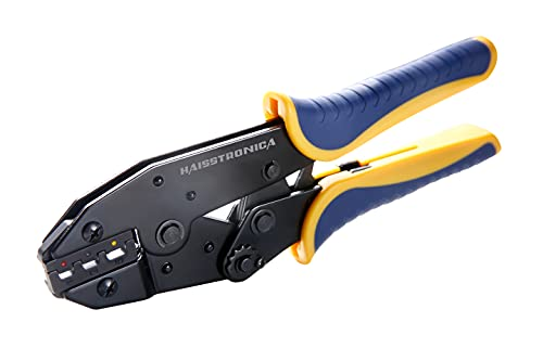 haisstronica Crimping Tool For Heat Shrink Connectors-AWG 22-10 Ratchet Wire Terminal Crimper-Racheting Crimper Tools-Available For Insulated Nylon Connectors and Electrical Wire Connectors HS-8327