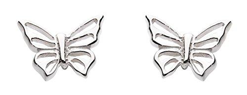Dew Women's Sterling Silver Butterfly Stud Earrings