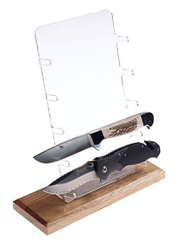 Universeller Messerständer für 5 Messer I Display Acryl/Eiche Massivholz I Erhältlich in Zwei