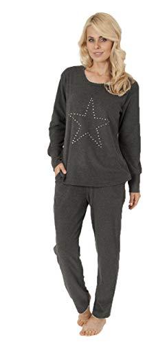 Wunderschöner Damen Frottee Pyjama, Langer Schlafanzug mit Sternmotiv - 56497, Größe2:48/50, Farbe:grau