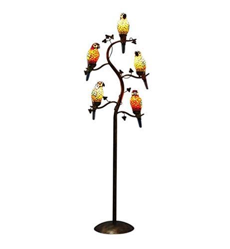 DLC 5-Licht Papagei Ast Zweig Stehlampe, Vintage Glasmalerei Stehlampe, Schlafzimmer Wohnzimmer Studie Dekoration Stehlampen, 110-240V
