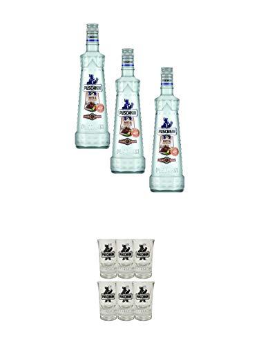 Puschkin Nuts & Nougat 3 x 0,7 Liter + Puschkin Shotglas mit Eichstrich 6 Stück