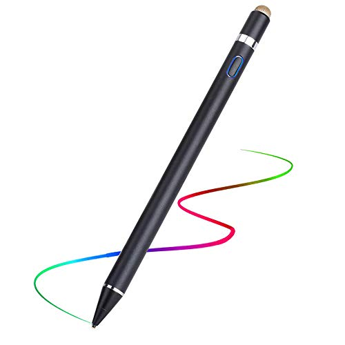 FANIER - Lápiz táctil recargable con lápiz táctil capacitivo, 1,5 mm, punta ultrafina para dibujar y escribir compatible con iPhone/iPad/Samsung/Android Tablet PC y otros teléfonos, color negro