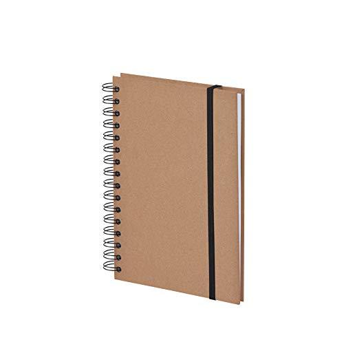 Rössler 1875452621 - S.O.H.O. Wire-O Notizbuch A5 mit Gummizug, 80 Blatt, kraft