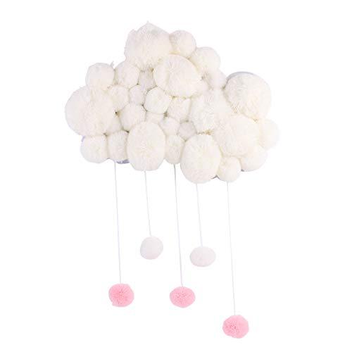 Manyo - Móvil de cuna para bebé, diseño de nubes nórdicos con campanillas eólicas colgantes, accesorio decorativo para habitación de bebé, juguete educativo (blanco)
