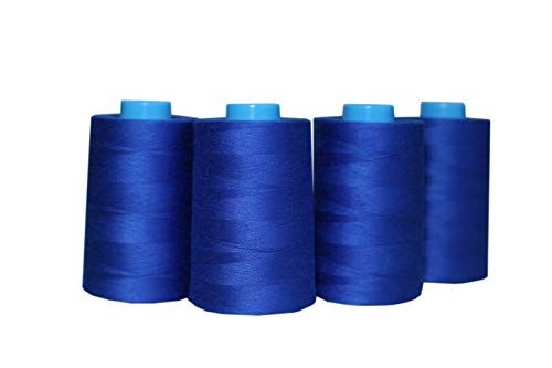 4 Pack of 6000 Yards(24000 Total) Serger Sewing Thread All Purpose Polyester Spools overlock Cone (4 x 6000 Yards Blue)