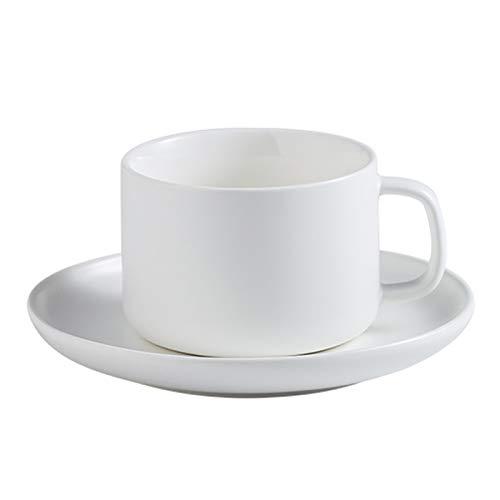 LICAILONGJIN7 Taza de café Copa de Mate de Porcelana Espresso Juego Cappuccino Taza y platillo 7,8 Onza Perfecto for Cafés Especiales, Latte, café Moka y té Tazas Taza de café (Color : White)