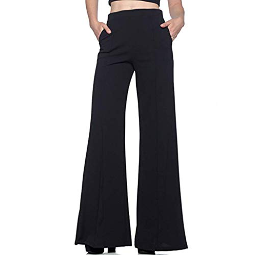 aihihe Palazzo Pants for Women Wide Leg Pants High Waisted Elegant Trouser Solid Casual Comfy Pants for Work Business
