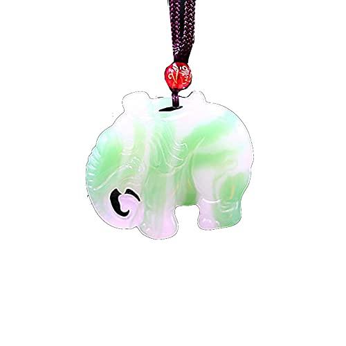 Jade elefante colgante tallado encanto collar joyería jadeíta china natural de doble cara moda verde blanco regalos amuleto