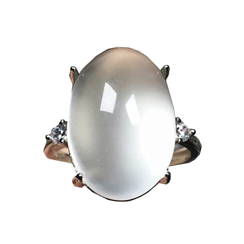 Anillo de piedra lunar natural arco iris piedra piedra de luna joyería para mujeres hombre suerte cristal oval 18x12mm cuentas anillo ajustable AAAAA