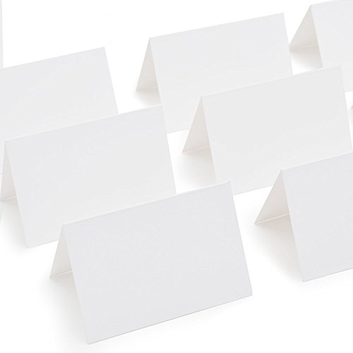 "AZAZA 50 Pcs White Blank Place Cards - Textured Table Tent Cards Seating Place Cards for Weddings Banquets Dinner Parties 2.5"" x 3.75"""