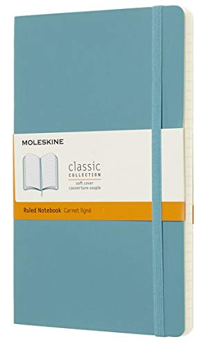 Moleskine Classic Notebook, Soft Cover, Large (5' x 8.25') Ruled/Lined, Reef Blue