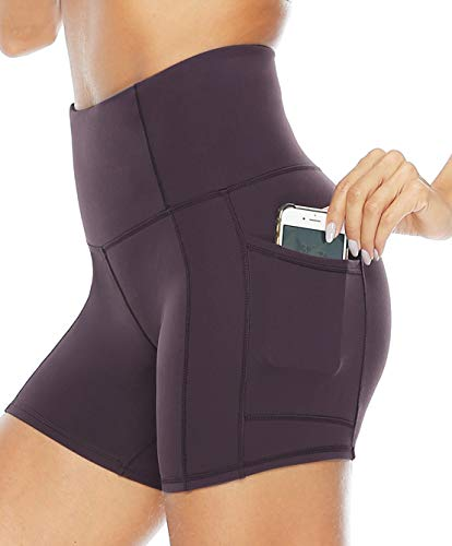 Persit Yoga Shorts for Women with Pockets High Wasited Running Athletic Biker Workout Shorts Tight Fitness Gym Shorts Yoga Pants - Vintage Grape - S