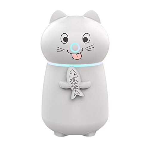 Gallity Mini USB Humidifier Mist Humidifier Cute Cat Air Purifier Aroma Diffuser Air Atomizer with Fan LED Night Light, Portable USB Fogger Mist Maker for Home Bedroom Baby Room Office and Travel