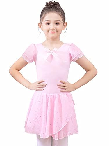 s.lemon Niñas Ropa de Ballet Vestido de Ballet Niñas Manga Corta Ballet de Algodón Leotardo Traje de Ballet Vestido de Baile Cuerpo de Baile con Falda Tutú Rosa 120