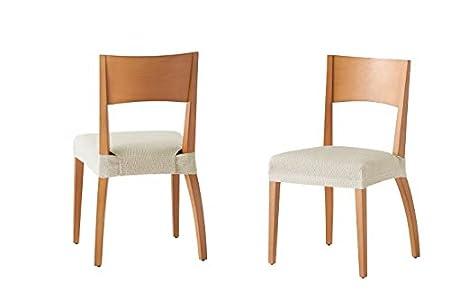 Martina Home Tunez - Funda para Silla, Tela, Funda silla asiento, Marfil, 24 x 30 x 6 cm, 2 Unidades