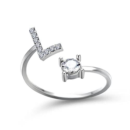 Anillo Pavé CZ ajustable con 26 letras iniciales para mujer, joyería simple y elegante, regalo de amistad-L