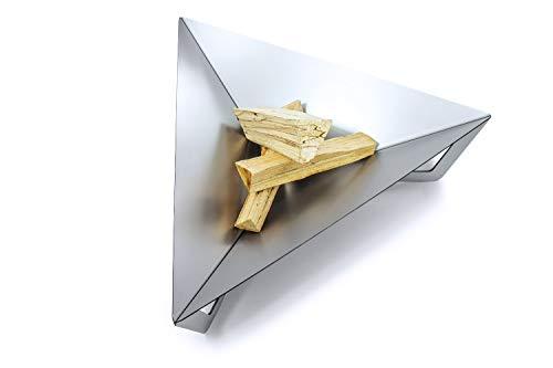 teileplus24 FS04 Brasero para hoguera, cesta para hoguera, de acero, macizo, diseño moderno con drenaje de agua y sistema de ventilación, ahorra espacio, desmontable, tamaño: Triángulo L