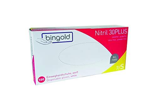 Nitrilhandschuhe Bingold 30Plus Weiß Latexfrei 100 Stück Box (S), Einmalhandschuhe Nitril, Einweghandschuhe, Untersuchungshandschuhe, Nitril Handschuhe, puderfrei, latexfrei, disposible Gloves