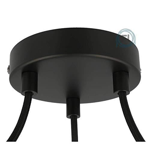 Flairlux Baldachin 3-fach schwarz zur Montage von Pendelleuchten | Lampenbaldachin für alle Lampen geeignet | zur Lampenaufhängung an der Decke | Deckenrosette 120x25 mm inkl Metall matt Klemmnippel