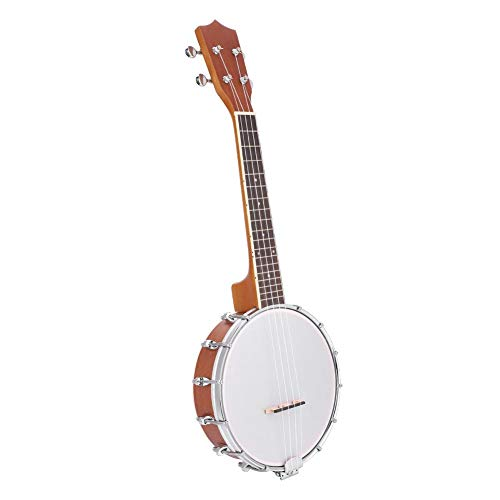 Jacksking Musikinstrument-Banjo, 4-saitiges Banjo-Set mit BJ10-Saiten-Capo-Reinigungspolitur, Saiten-Banjo-Set