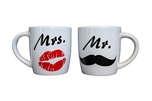 Juego de tazas con texto Mr y Mrs para bodas, regalo para parejas, tazas de café, tazas de pareja