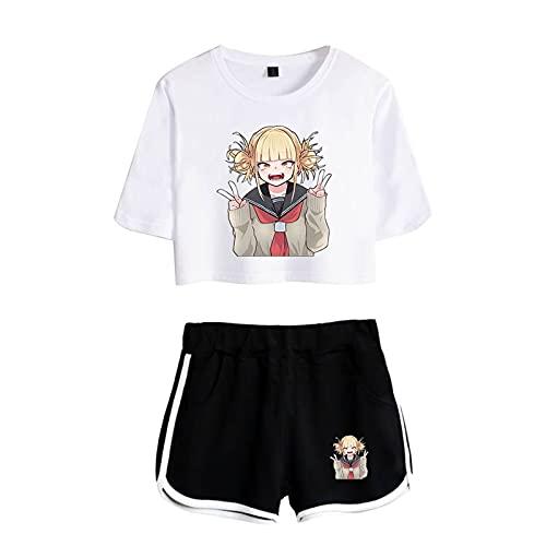 WWZY Conjunto de Deportiva de Verano para Mujer My Hero Academia Impresión 3D Todoroki Shoto Camiseta y Pantalón de Uniforme Chándal Cosplay para Amantes del Anime,Negro,XS