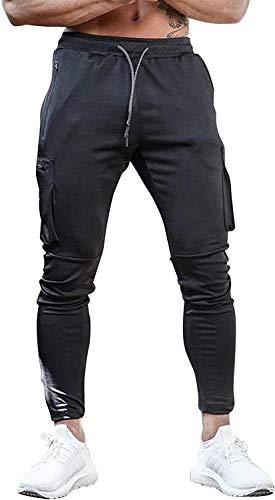 Yidarton Hose Herren Jogginghose Trainingshose Sporthose Fitness Slim Fit Sweatpants Freizeithose Jogger Männer Pants (Schwarz, Large)