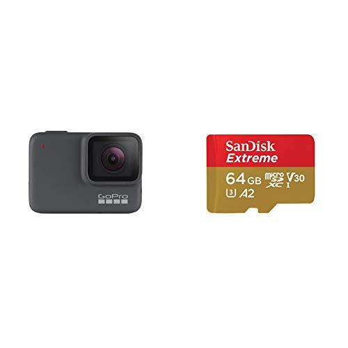 Gopro Hero7 - Cámara de Acción, Sumergible hasta 10M, Vídeo 4K HD, Fotos de 10 MP + SanDisk Extreme - Tarjeta de Memoria microSDXC de 64GB con Adaptador SD, A2, hasta 160MB/s, Class 10, U3 y V30