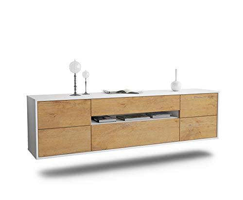 Dekati Lowboard Reno hängend (180x49x35cm) Korpus Weiss matt   Front Holz-Design Eiche   Push-to-Open