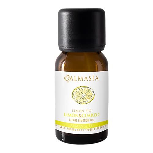 Aceite Esencial de Limón con Cuarzo - 15 ml - Aumenta las Defensas - Equilibra los Chackras - Contiene Vitaminas y Antioxidantes - Con Cuarzo Blanco - 100% Natural - No Testado en Animales - Almasía