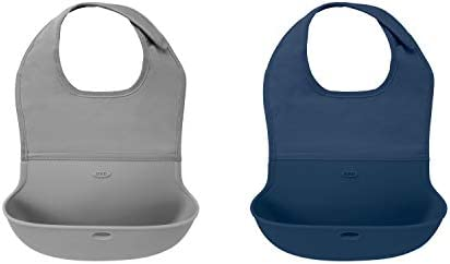 OXO Tot Roll Up Bib 2 Pack Gray Navy product image