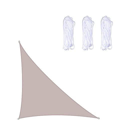 LICHUXIN Pantalla de Sombra de triángulo de ángulo Recto, 10x10x14ft jardín al Aire Libre Protector Solar Impermeable Oxford paño de Tela de Sombra de la Cuerda, Villa Patio Sol sai,Caqui