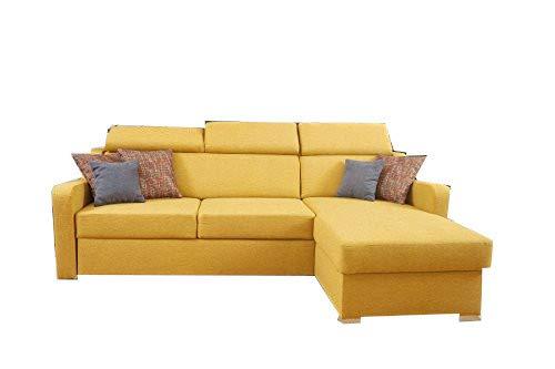 mb-moebel Kleines Ecksofa Eckcouch mit Bettkästen mit Schlaffunktion Couch Wohnlandschaft L-Form Polsterecke Penny (Gelb, Ecksofa Rechts)
